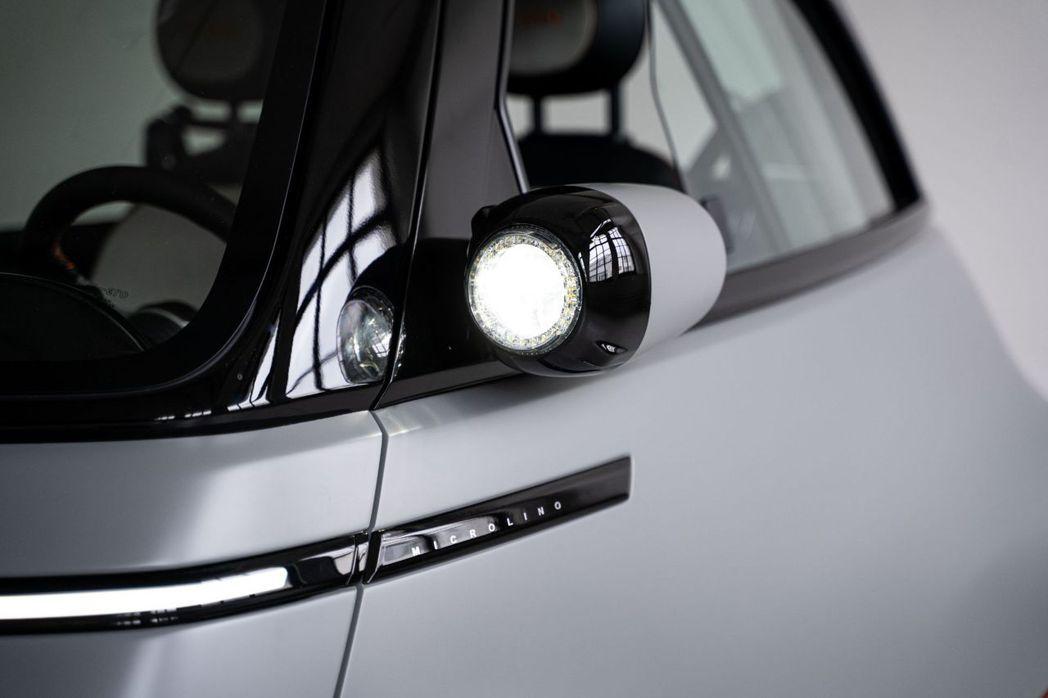 Microlino 2.0的大燈裝配在後照鏡上。 摘自Micro