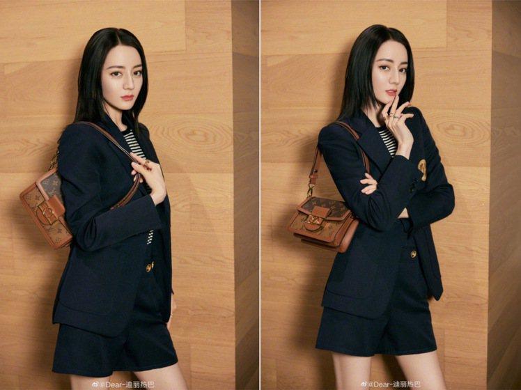 迪麗熱巴以西裝造型呈現,網友表示「穿西裝的迪迪帥飛」。圖/取自微博