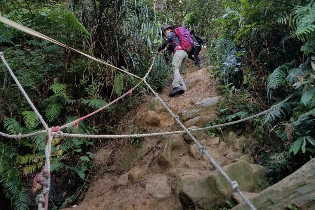 以往不分郊山、中級山或高山百岳,在舖設完善的政府指定步道之外,我們總是會看到一群熱心山友組隊除草、闢路、綁布條、架拉繩,為的不外乎就是推廣登山風氣,無私為所有登山者提供服務。 圖/作者提供