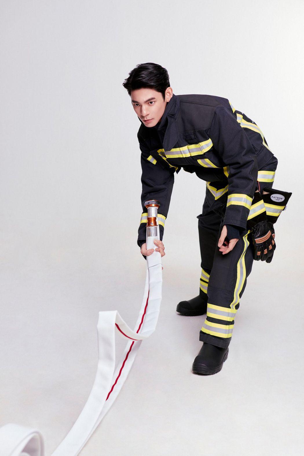 林柏宏擔任消防大使再度穿上消防制服帥氣爆表。圖/林柏宏經紀人提供