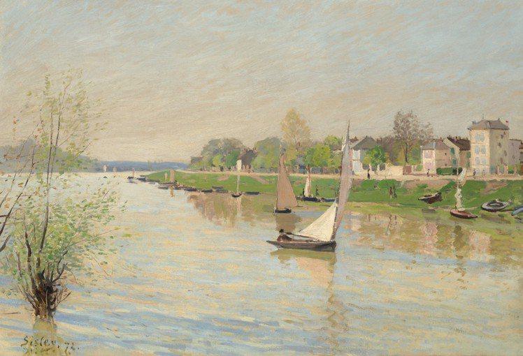 Alfred Sisley「阿讓特伊的塞納河」(左下簽名日期),1872年作,估...