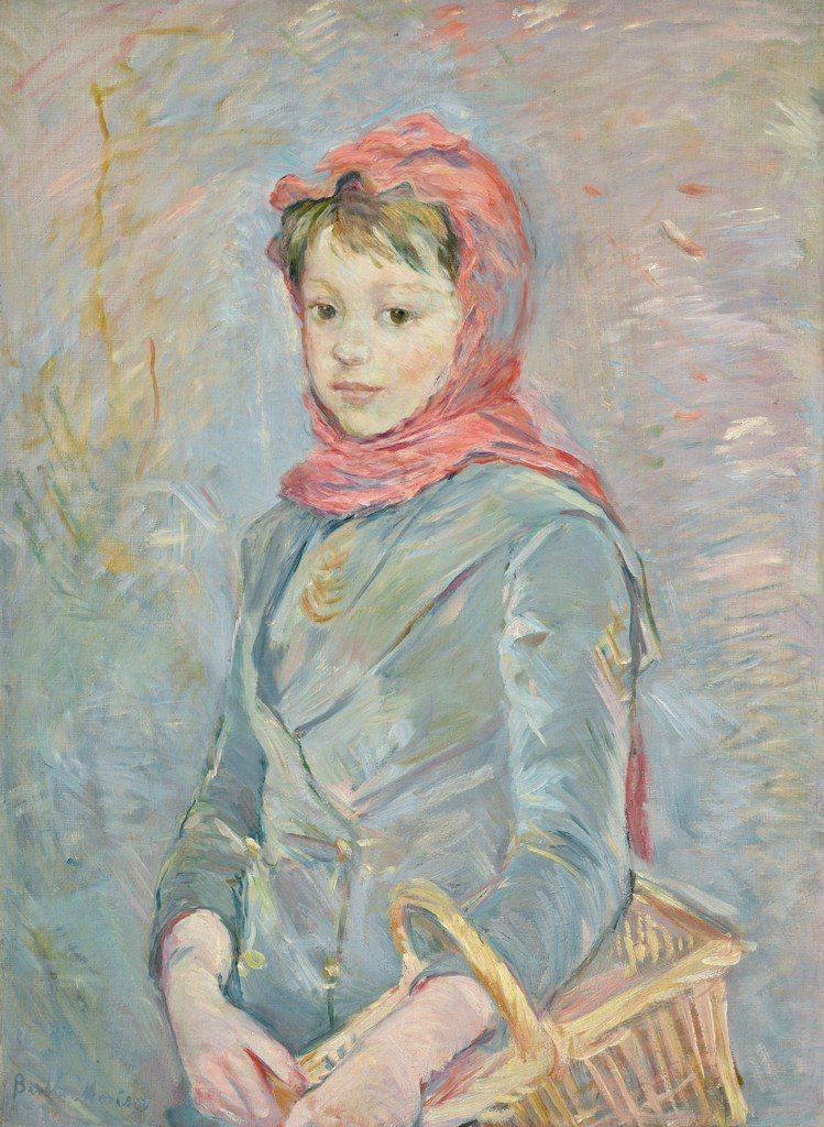 Berthe Morisot「提著籃子的女孩」(左下簽名),1888年作,估價約...