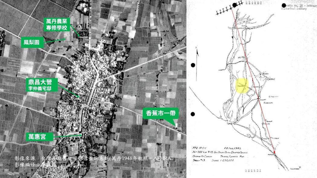 萬丹居民回憶中,1945年2月20日當天有落彈紀錄的地點。對照第405中隊的任務報告地圖,可見B-25J由北北西往南南東飛行,在轟炸潮州前先炸射了萬丹。 影像編修/廖英雁