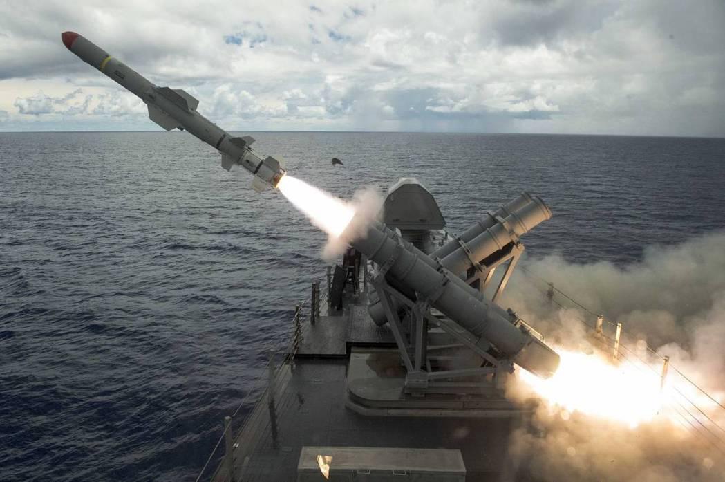 魚叉飛彈發射。 圖/US Navy