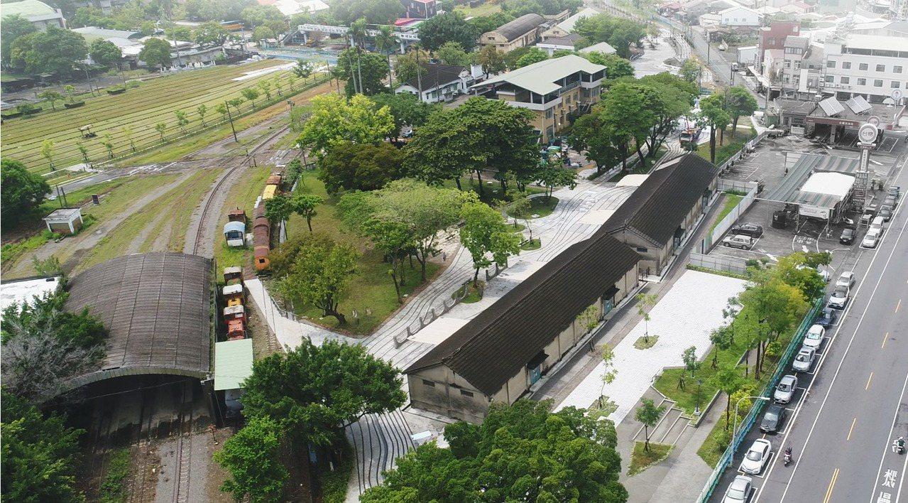 新營鐵道文化園區鳥瞰圖。 圖/台南市政府都發局提供