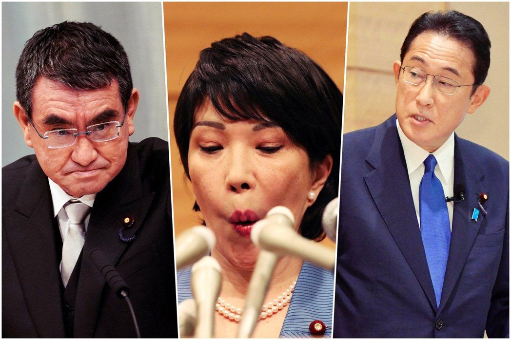 目前出馬角逐自民黨總裁的人選,由左至右分別是:本屆熱門人選的河野太郎,日本政壇罕...