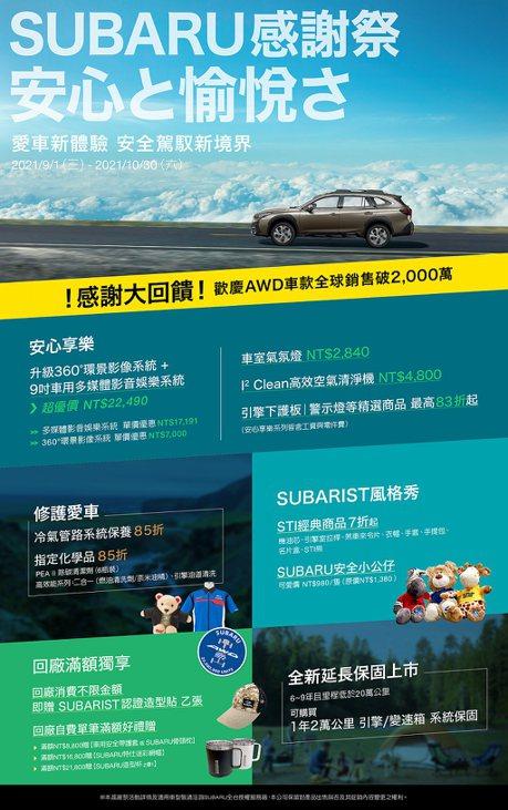 「2021 Subaru感謝祭」開跑!5大方案全面回饋車主