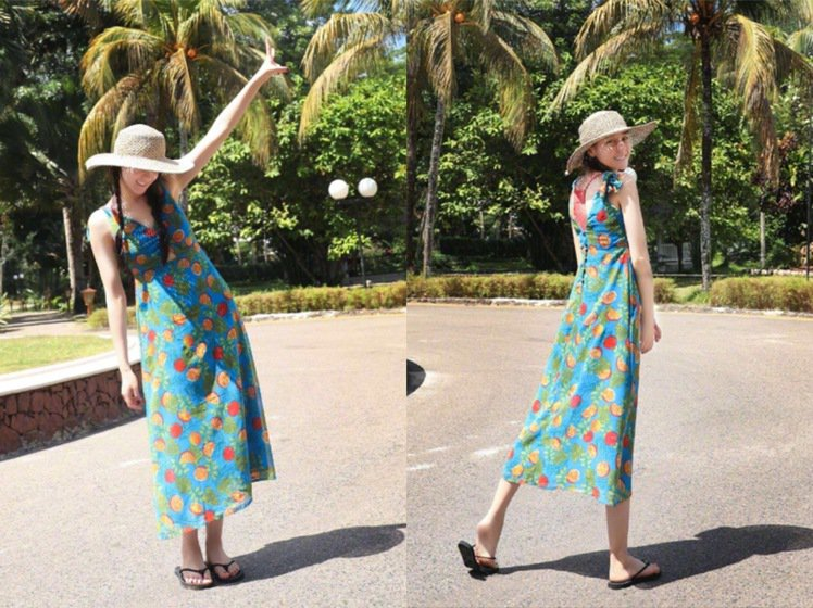纖瘦的迪麗熱巴近期有許多細肩帶洋裝穿搭,相當清新可愛。圖/取自微博
