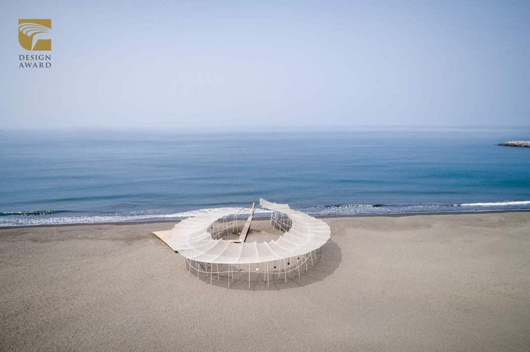 整合設計類獲獎作品,都市藝術工作室的「2021漁光島藝術節-安棲之嶼」。 圖/台...