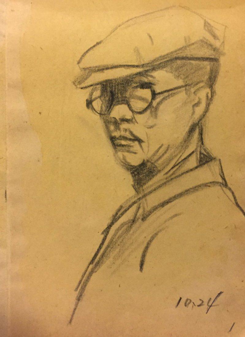 簡綽然,《自畫像》,炭筆素描,1966,簡綽然家屬提供。