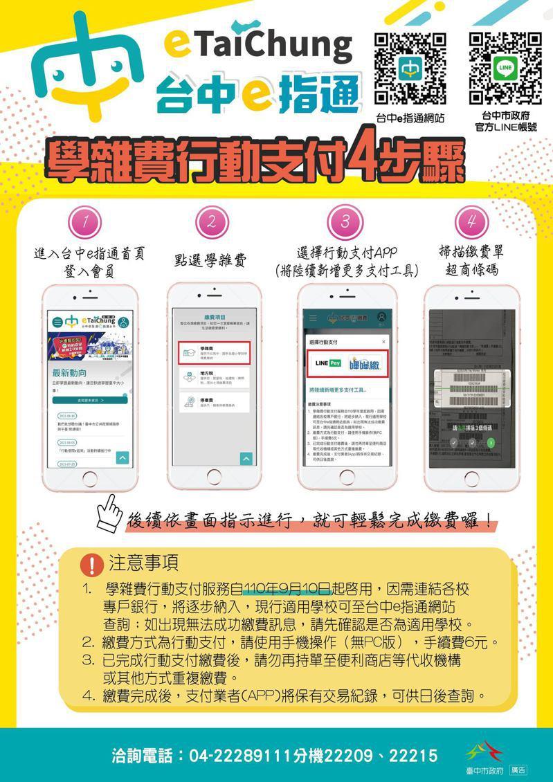 今年3月推出「台中e指通」數位市民平台,並逐步擴充數位化服務內容,9月10日起開通「學雜費行動支付」,讓家長免去瑣碎的繳費實體程序。圖/台中市研考會提供