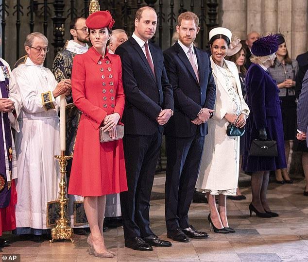 凱特(左起)、威廉、哈利、梅根彼此的恩怨,永遠是外界話題。(路透資料照片)