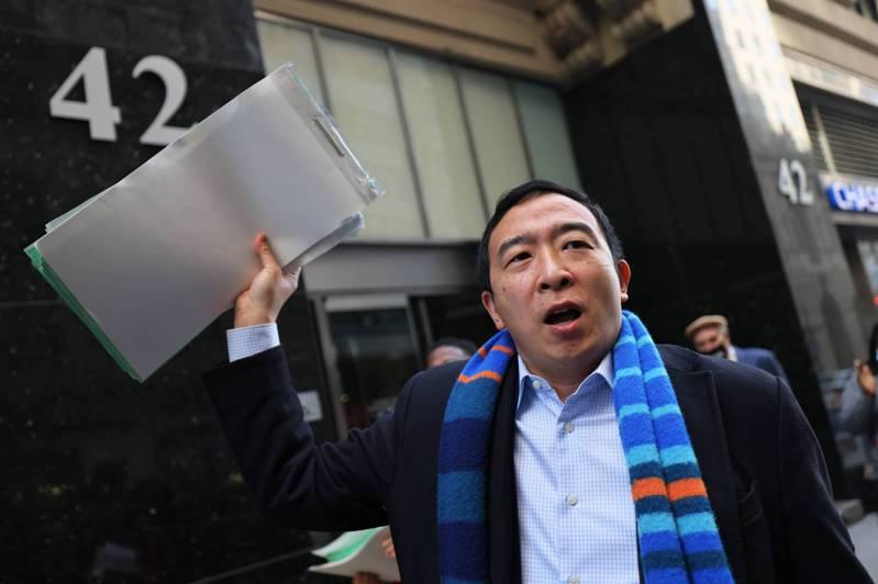 前紐約市長民主黨籍參選人、台裔楊安澤傳下月將組新政黨。法新社