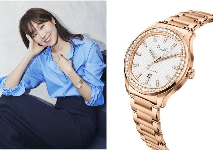 孔曉振以中性藍色襯衫造型配PIAGET Polo腕表,展現甜美率性與奢華的二合為...