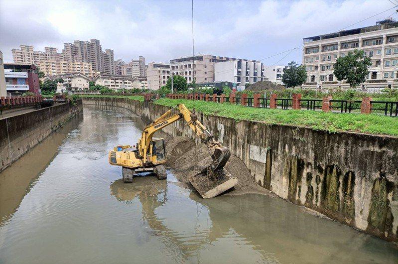 水利局機具確保河道排水順暢。圖/高市水利局提供