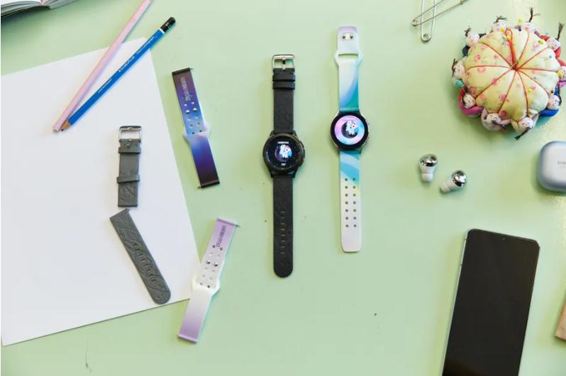 三星發表的六款限量版Galaxy Watch 4表帶,都採用可回收的環保材料,其中還包括「蘋果皮」。 圖擷自三星
