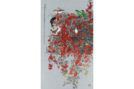 邱素美工筆畫作品《山間處處聞啼鳥、枝頭果熟競食忙》,日本銀潛紙,100x58cm...