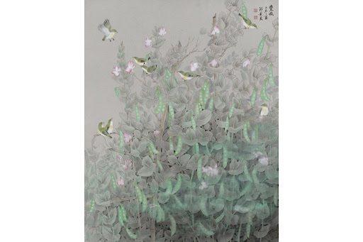 邱素美工筆畫作品《豐收》,紙,72x90cm。 圖/邱素美