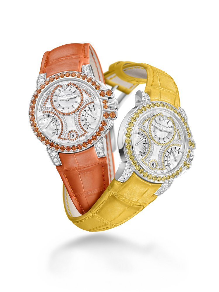 海瑞溫斯頓為Ocean系列推出兩款雙逆跳功能36毫米自動腕表,黃、橘色彩搶眼。圖...