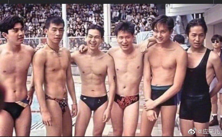陳小春、張智霖、張學友過去穿著泳褲的合照。 圖/擷自應采兒微博