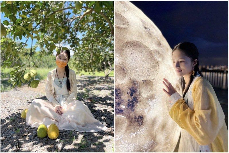 (左圖)中秋前後是柚子的盛產季,柚子以其豐富的寓意,成為中秋節不可或缺的當令水果。 (右圖)新月橋上擺放著一顆直徑超過兩公尺的巨型月亮,吸引遊人駐足追月。 (組圖/楚楚提供)