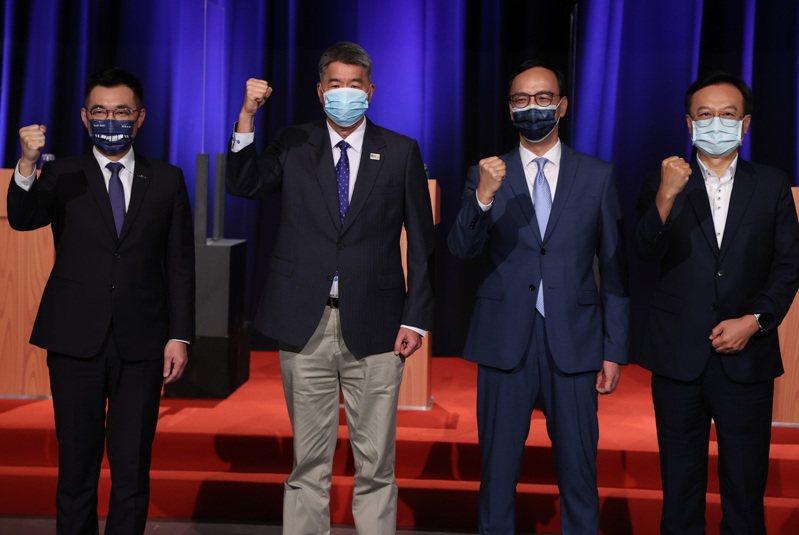 國民黨主席候選人江啟臣(左起)、張亞中、朱立倫、卓伯源。圖/聯合報系資料照片