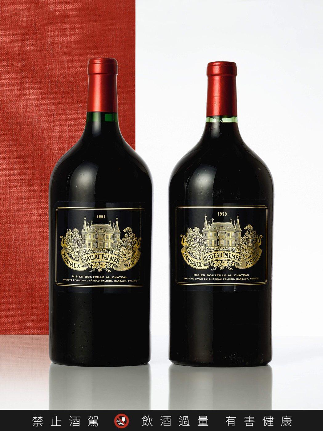 Palmer 1961年(3公升裝單瓶)估價20萬港元起。圖/蘇富比提供