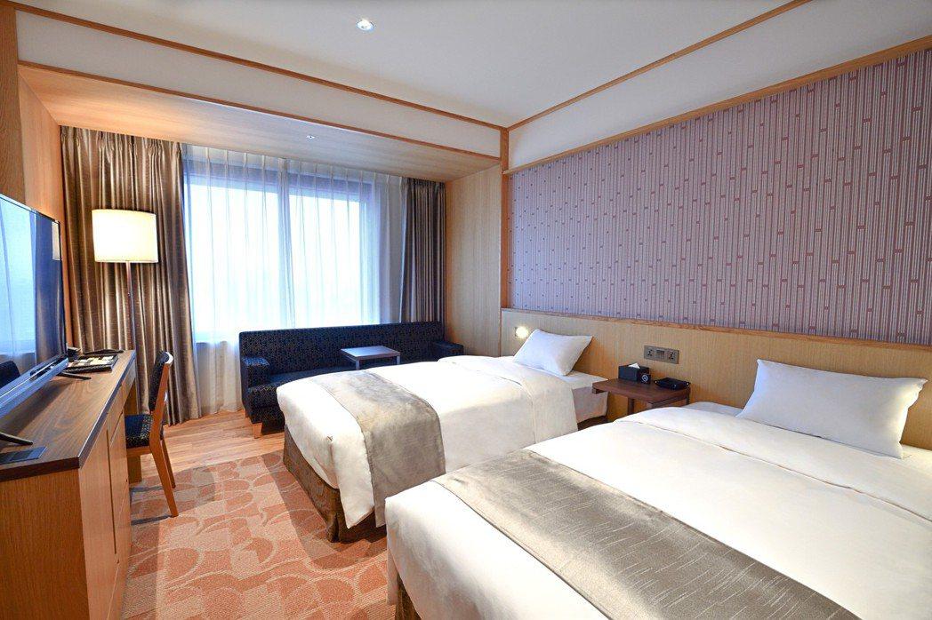 格拉斯麗台北酒店房間採日式簡約風設計。格拉斯麗台北酒店/提供