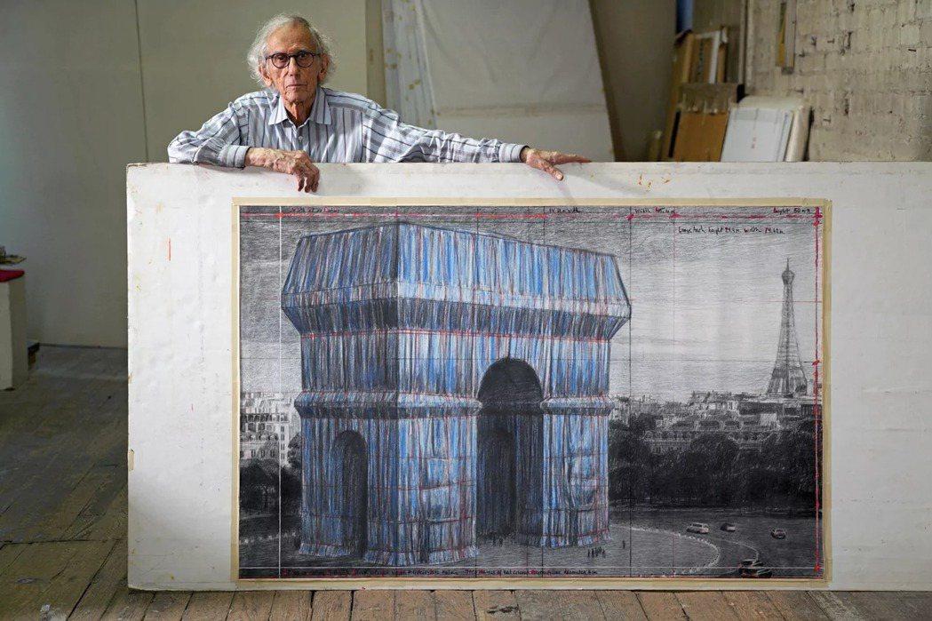 Christo從2020年,開始執行「包裹凱旋門」作品。圖/Christo&Je...