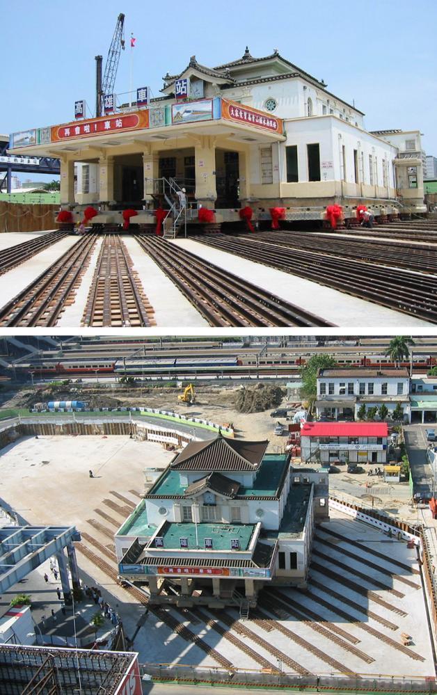 搬遷車站使用總掘工法,先以千斤頂抬高建築,再鋪設鋼軌緩慢平移。 圖/交通部鐵道局...