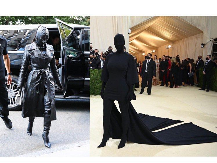 金卡戴珊的兩套Met Gala造型都是全黑蒙面。圖/達志影像、取自IG @nyt...