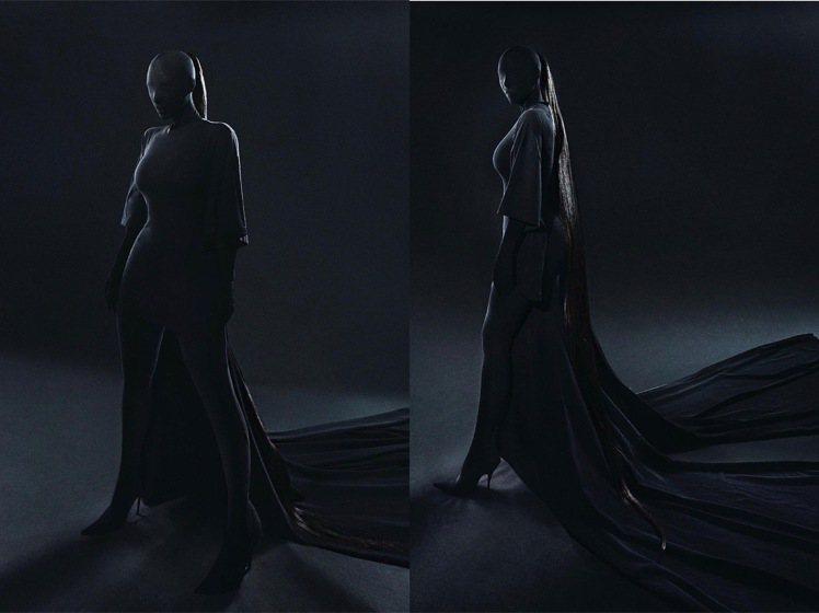 金卡戴珊蒙面全黑Met Gala紅毯造型,據稱是來自肯爺的靈感。圖/取自IG @...
