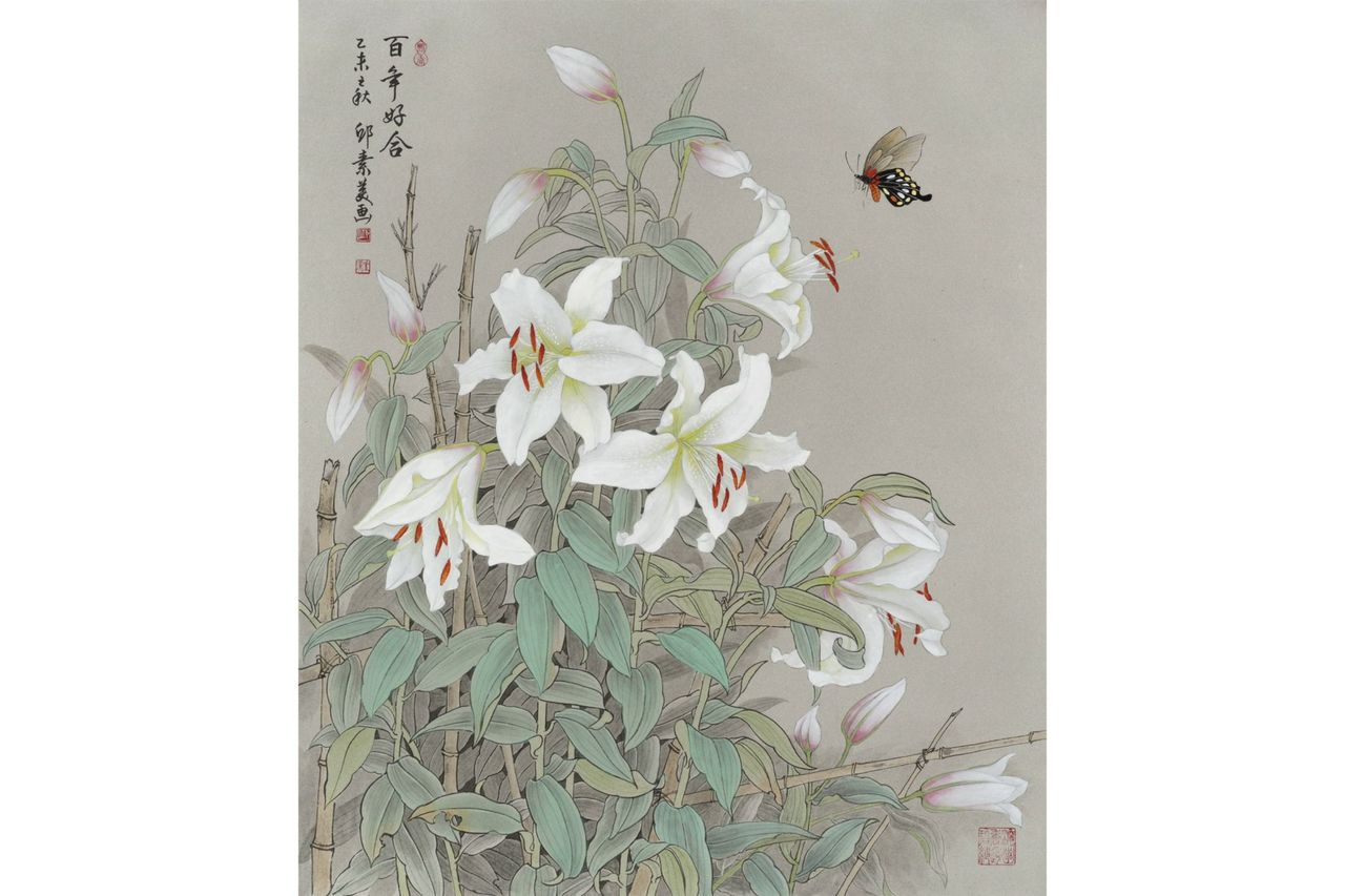 邱素美工筆畫作品《百年好合》,紙,72x60cm。 圖/邱素美