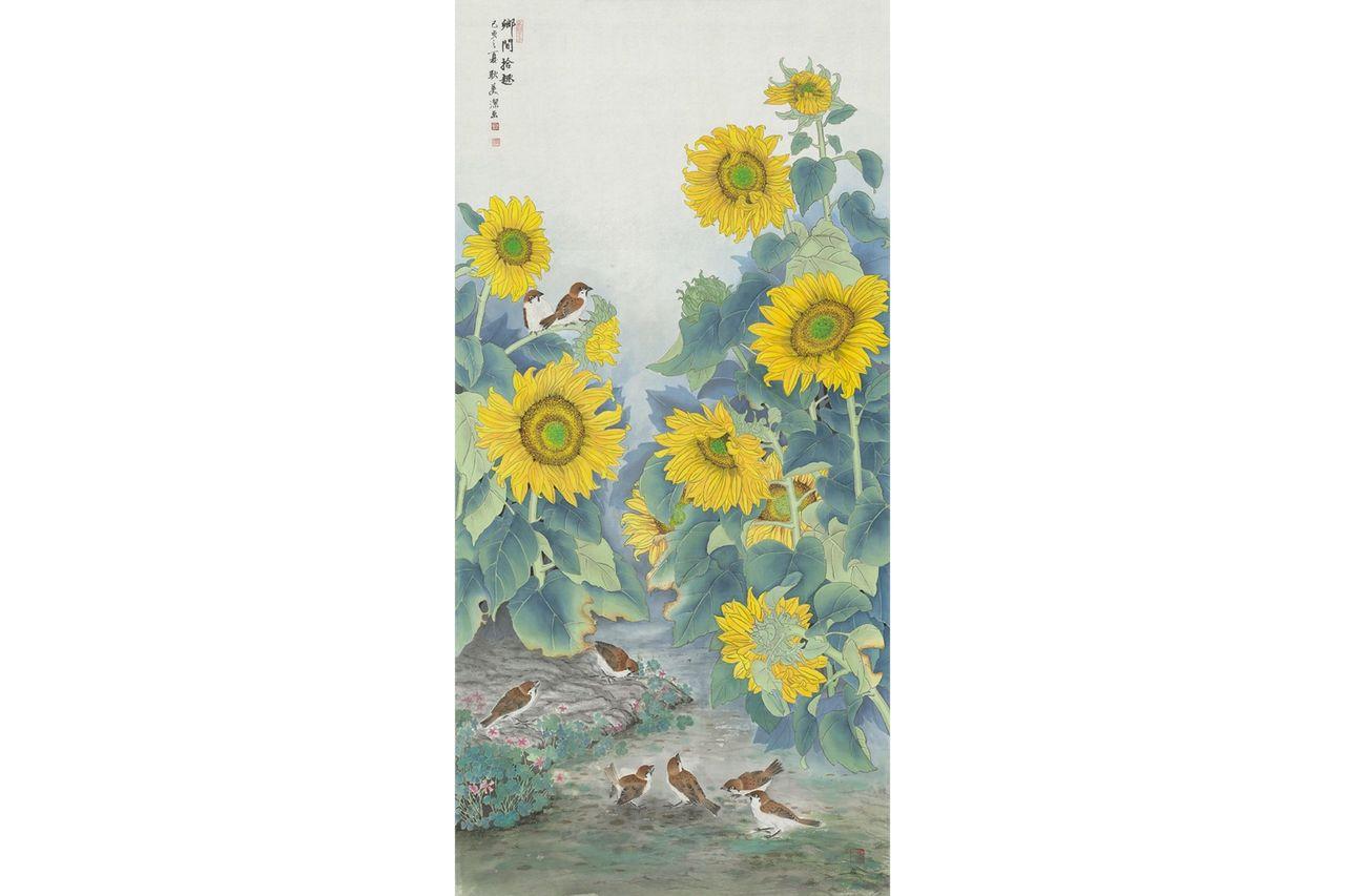 學員耿美潔的作品《鄉間拾趣》,絹布,66x136cm。 圖/邱素美