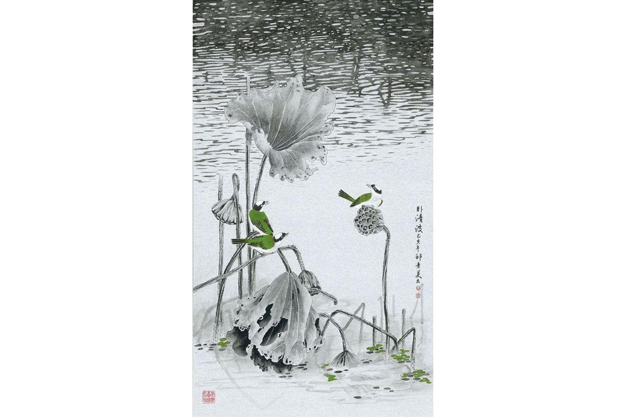 邱素美工筆畫作品《臥清波》,日本銀潛紙,100x58cm。 圖/邱素美