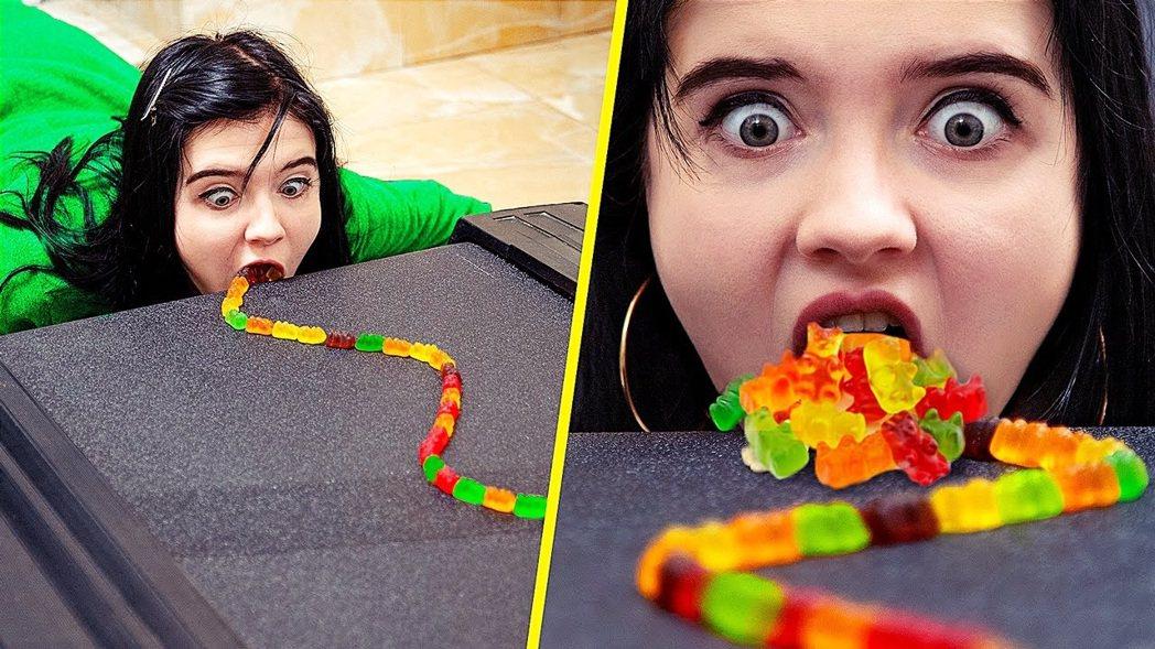圖為示意圖,為youtuber拍攝的Gummy Bears Challenge,...