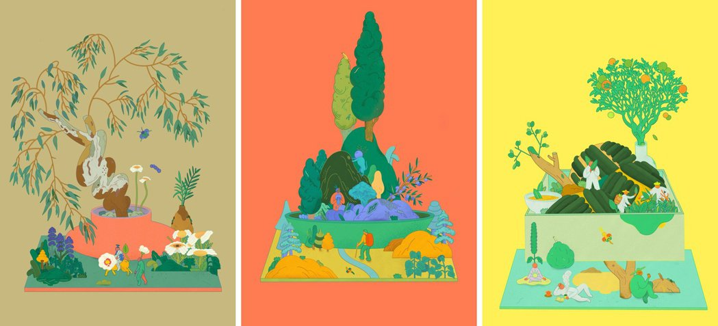 插畫家川貝母為「伊聖詩芳療生活館」20週年操刀主視覺,左起:開闊踏實的園地、安穩...