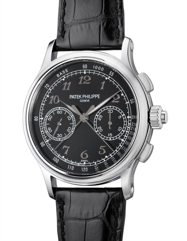 百達翡麗型號 5370P-001,鉑金追針計時腕表備黑色琺瑯表盤,約2017年製...