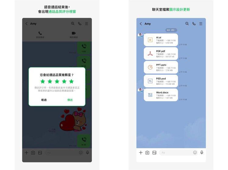 近期使用LINE通話後可能會隨機出現評分視窗,Android則可發現聊天室的檔案...