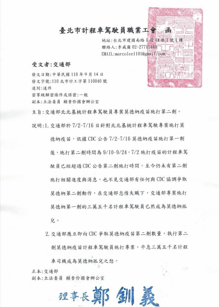遲遲等不到莫德納第二劑,台北市計程車駕駛員職業工會今發文給交通部,呼籲不要讓三萬...