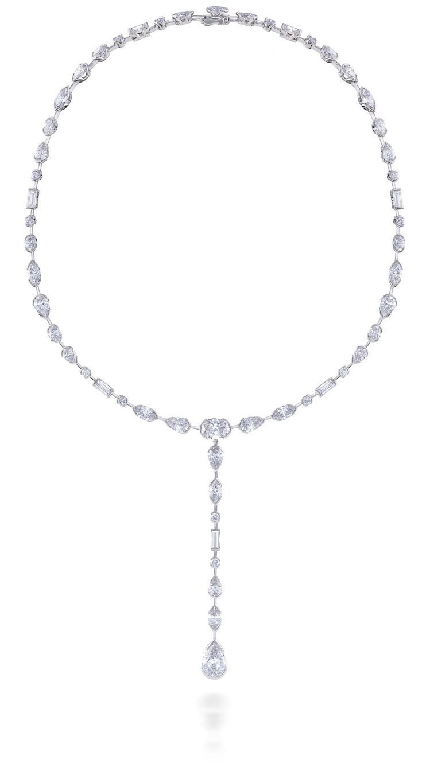 芮塔歐拉配戴的DE BEERS Swan Lake高級珠寶鑽石項鍊約,1100萬...