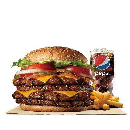 漢堡王「超級重磅牛肉堡」,單點289元,套餐329元。圖/漢堡王提供