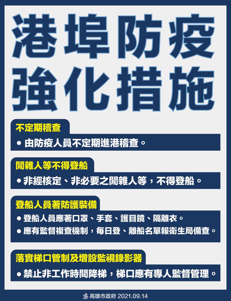 高市府公布港口防疫的加強措施。圖/高市衛生局提供
