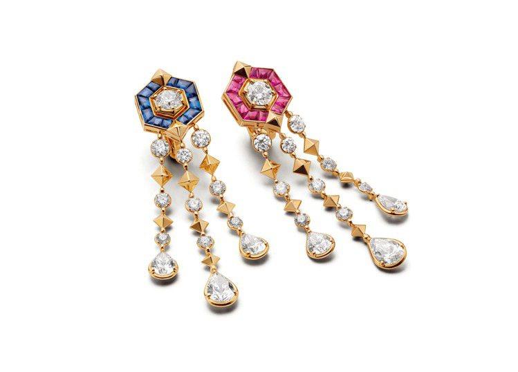 Eiza Gonzalez配戴的寶格麗頂級紅寶石、藍寶石與鑽石耳環。圖/寶格麗提...