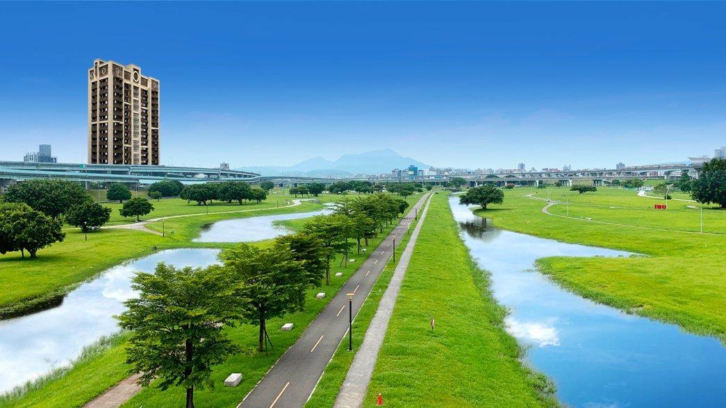 圖說:「連美One+」鄰近佔地424公頃的新北大都會公園,擁高綠覆優勢!