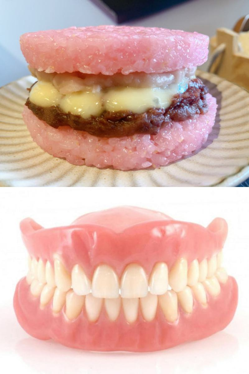 網友看到摩斯推出的「粉紅米堡」,聯想到「全口假牙」,讓不少人直呼「有陰影」。圖擷自「爆廢公社二館」臉書