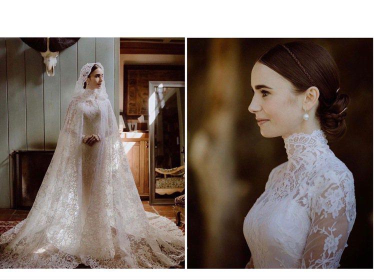 莉莉柯林斯的RALPH LAUREN Collection婚紗浪漫典雅。圖/取自...