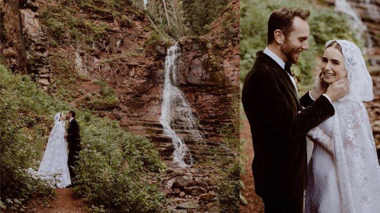 莉莉柯林斯釋出首波婚紗,是在科羅拉多州的牧場拍攝。圖/取自IG @lilycol...