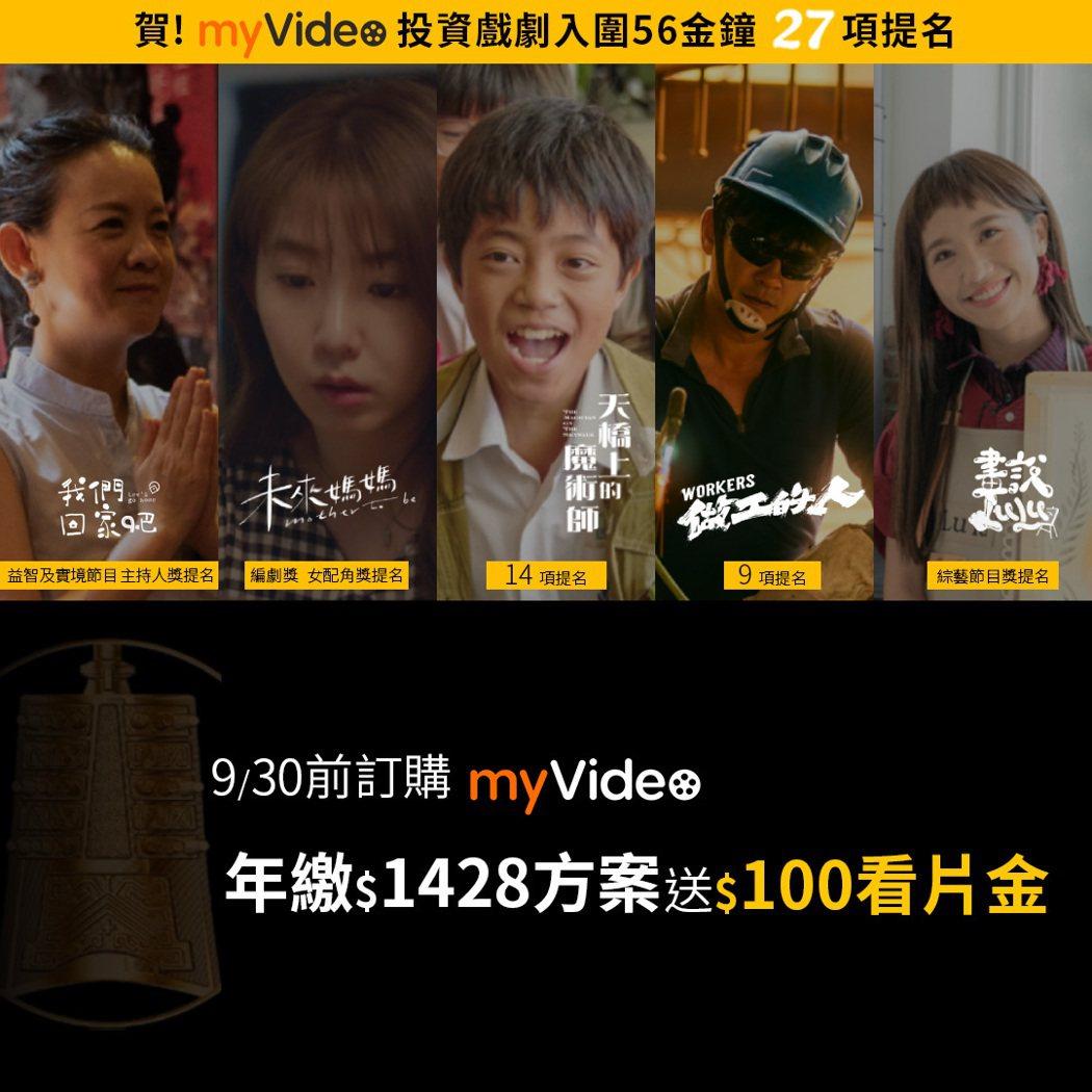 台灣大寬頻機上盒myVideo推「金鐘56」專區及訂購優惠活動。台灣大寬頻/提供