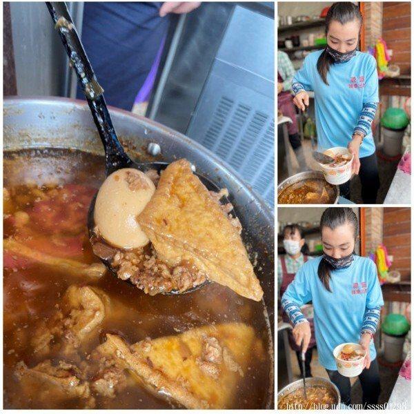 看到店家將這鍋滷肉燥的滷蛋和油豆腐撈起來時的畫面實在美好,讓人垂涎三尺。
